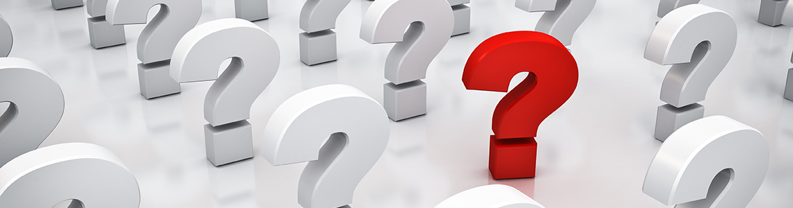 Red and white question marks FAQ banner
