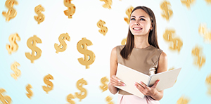 Gold dollar signs raining down around smiling woman