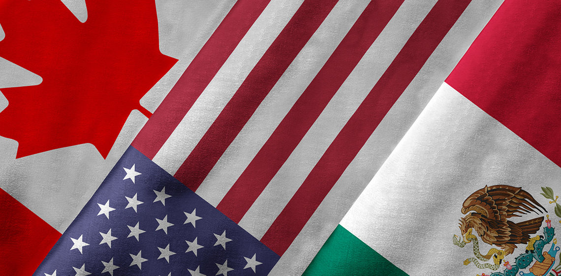 NAFTA, flags of Canada, United-States and Mexico
