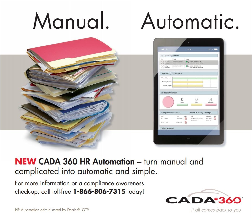 CADA 360 HR Automation ad, manual, automatic, paper files and a tablet